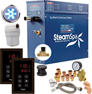 SteamSpa Executive 6 KW QuickStart ACU-Steam Bath Generator Package with Built-in Auto Drain in Oil Rubbed Bronze | Steam Generator Kit with Dual Control Panel Steamhead 240V | EXT600OB-A
