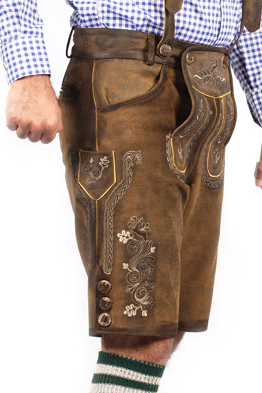 Oktoberfest Bavarian Short Lederhosen Men | Traditional Authentic German Outfit: Clothing
