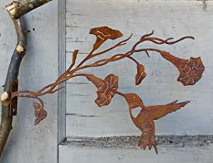Elegant Garden Design Hummingbird on Morning Glory, Steel Silhouette with Rusty Patina