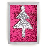 """Décor 5 – Reversible Mermaid Sensory Sequins DIY Drawing Wall Art - 12'' x 16"""" - Shiny Fuchsia/Silver Sequins with Silver Frame"""