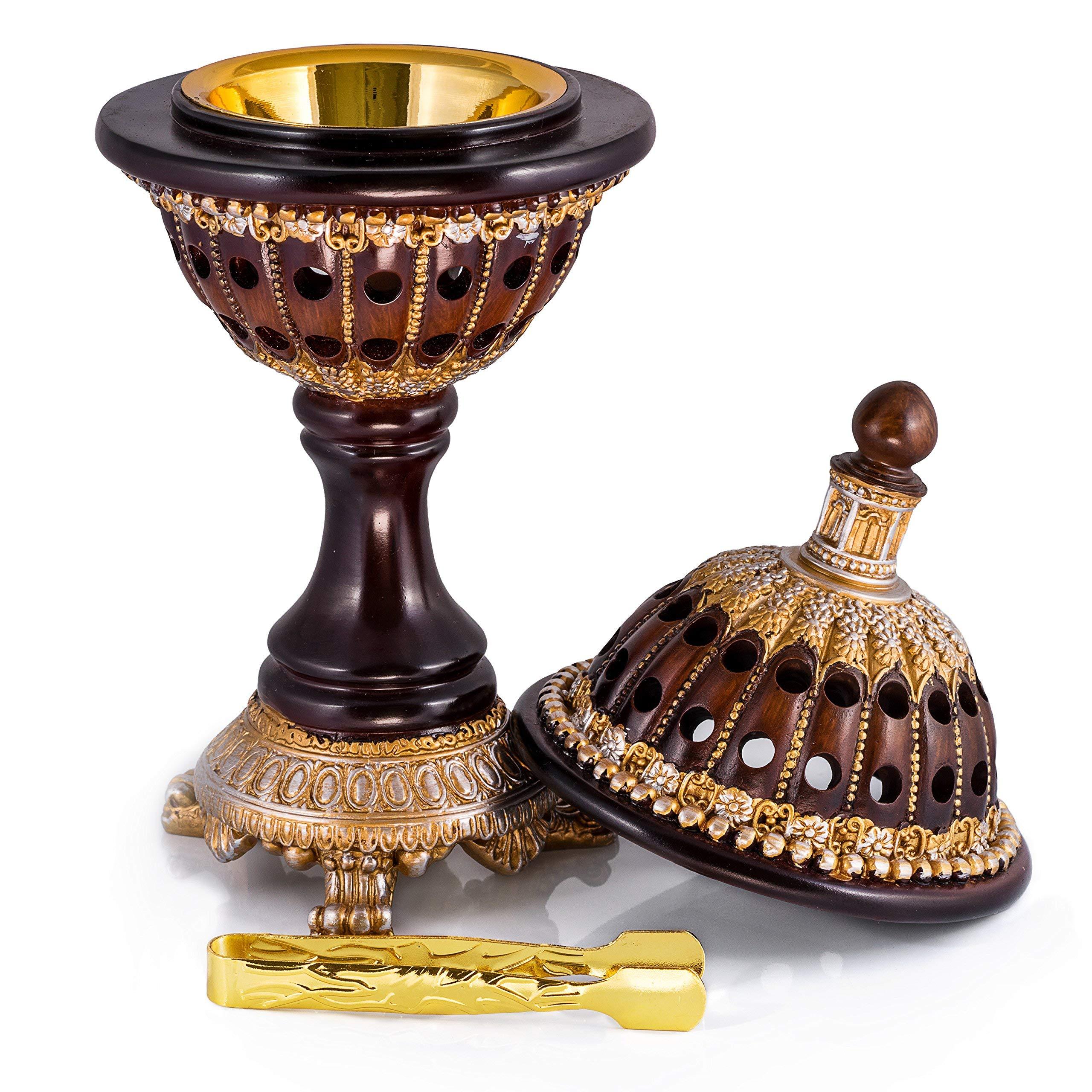 Crescendo /& Co Golden Tibetan Incense Burner Holder for Sticks Cones Coils Antique Metal Lotus Tibet Decor Chinese Incense Burner Fire Resistant Mat /& Brass Stick Holder