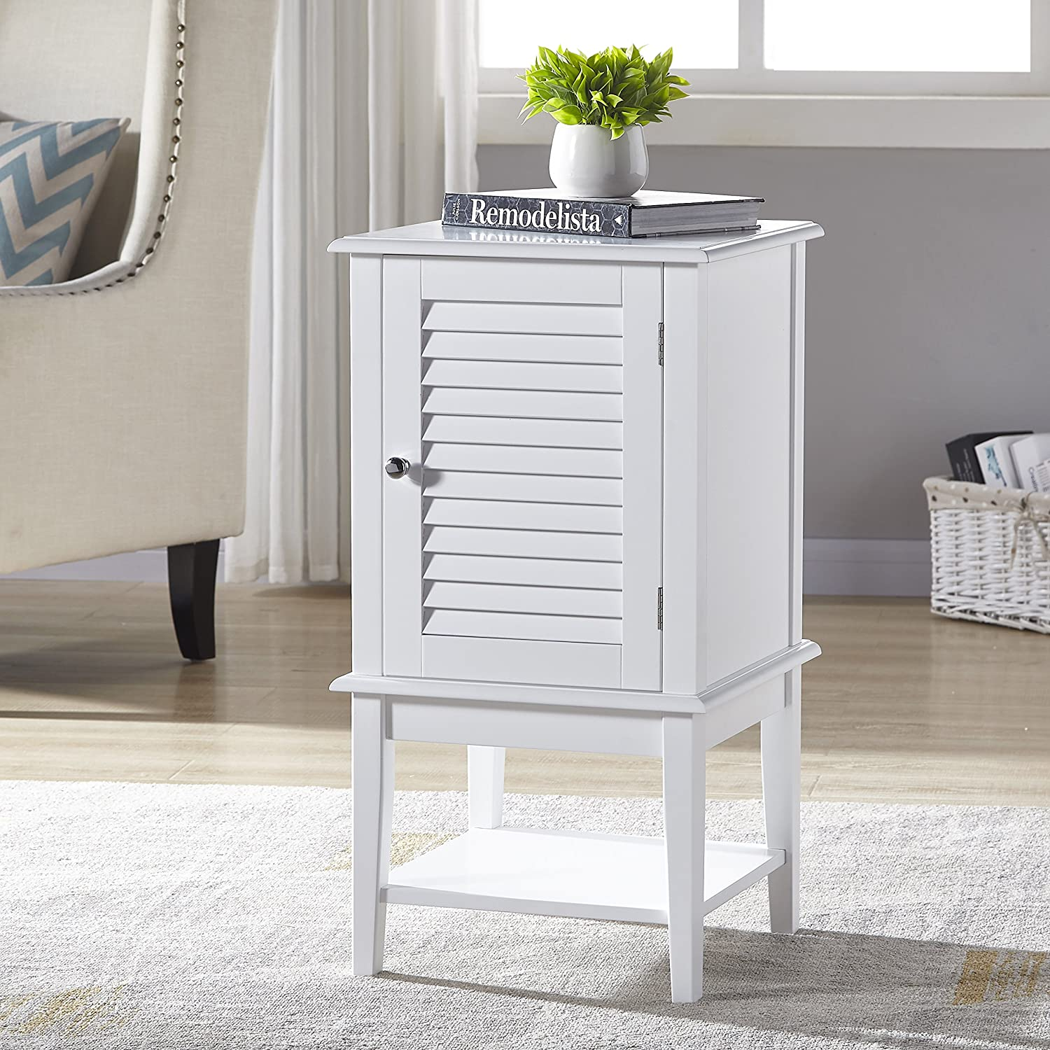White Finish Bathroom Cabinet Storage Floor Cabinet Free Standing with Shutter Door and Bottom Shelf eHomeProducts NT-20323