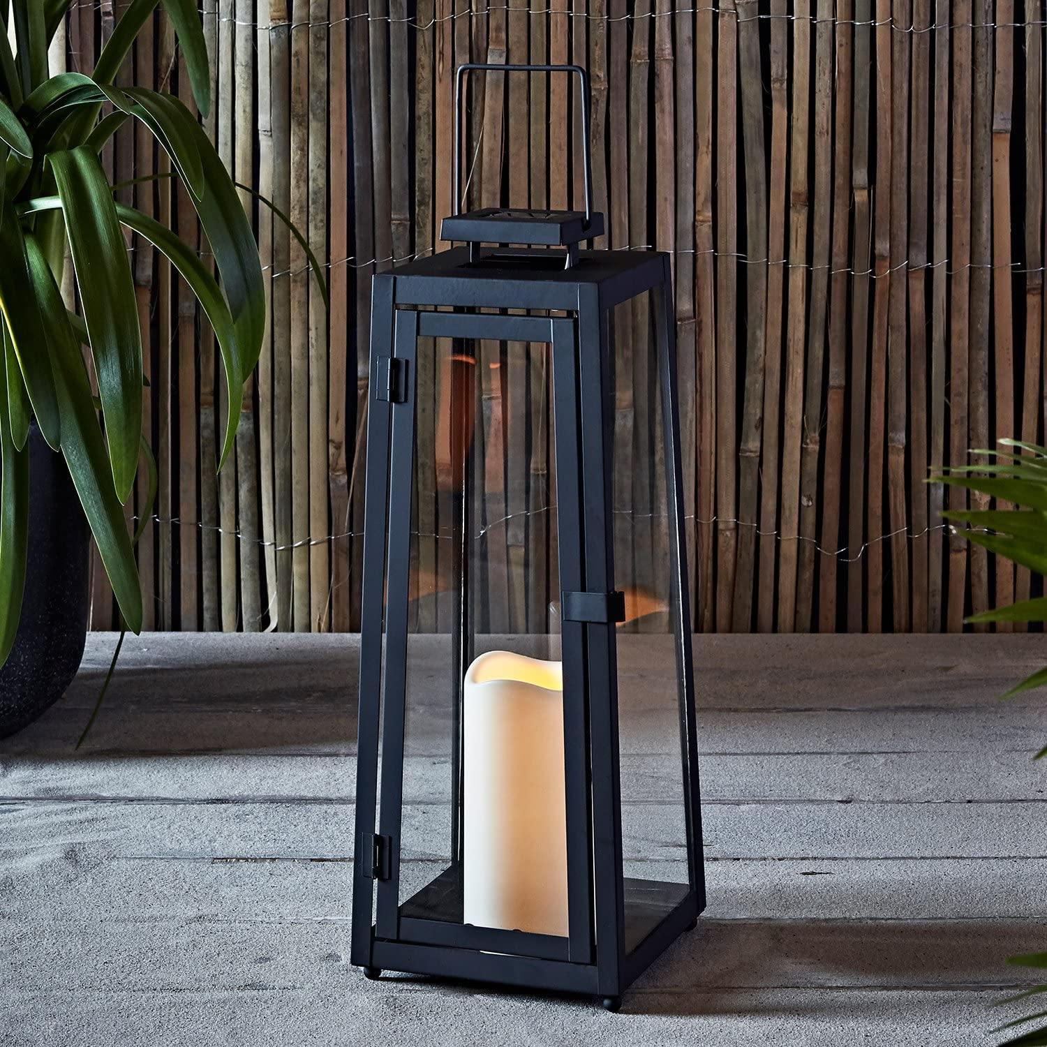 Lights4fun, Inc. Large Black Metal Solar Powered LED Fully Weatherproof Outdoor Garden Flameless Candle Lantern