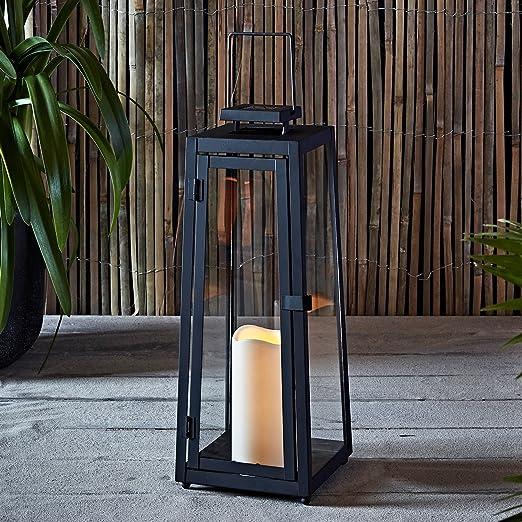 Lights4fun Farolillo Solar Metálico Grande de Vela LED para Jardín y Exteriores: Amazon.es: Hogar