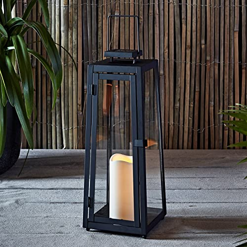Lights4fun Large Black Metal Solar LED Garden Candle Lantern