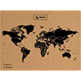 Miss Woody Wood Map L-Mapa del mondo di sughero, motivo My world, colore: nero