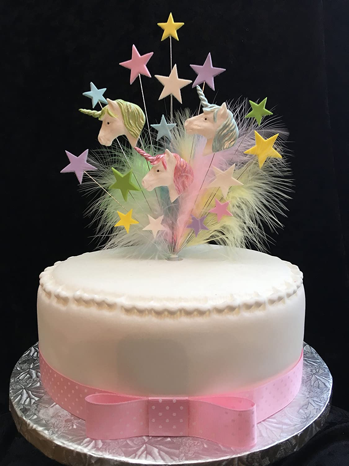 Tremendous Unicorn Birthday Cake Topper With Stars And Marabou Feathers Funny Birthday Cards Online Aboleapandamsfinfo
