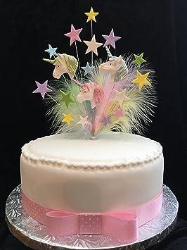 multicolor unicornio cumpleaos decoracin para tarta para con estrellas y plumas de marab ideal para a