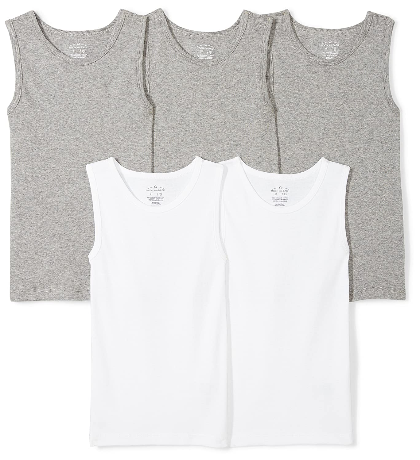 Moon and Back Toddler Set of 5 Organic Muscle Tanks