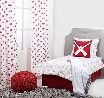 Bacati Baseball Muslin 4 Piece Toddler Bedding Set Red Grey