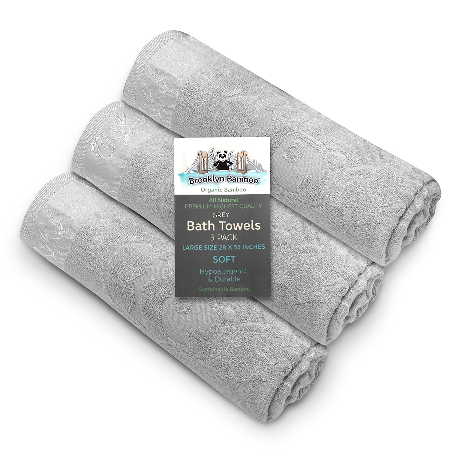 Brooklyn Bamboo Bath Towels | Beautiful & Unique 3 Piece Set | Extremely Soft & Absorbent | Hypoallergenic & Anti-Fungal | 27.6 x 55.1 Inches | Gray