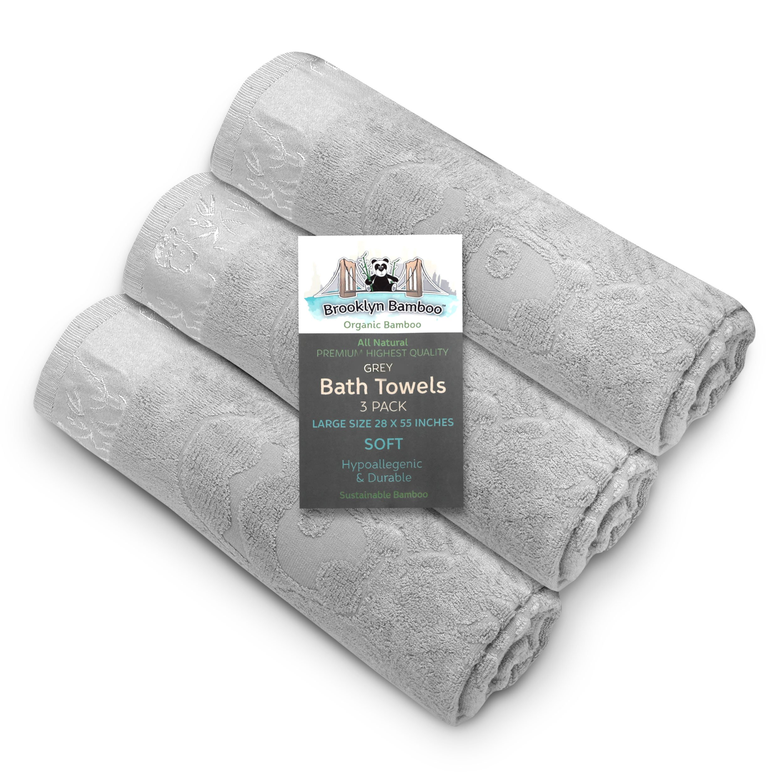 Brooklyn Bamboo Bath Towels, Beautiful Unique 3 Pack of Soft Absorbent Antifungal Hypoallergenic Towel, 27.6 X 55 inch, Grey