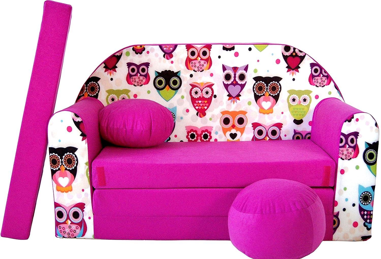 Pro Cosmo Canapé-lit H17 - avec Pouf, Repose-Pieds, Oreiller - pourEnfants - en Tissu Rose - 168x 98x 60cm 640791944307
