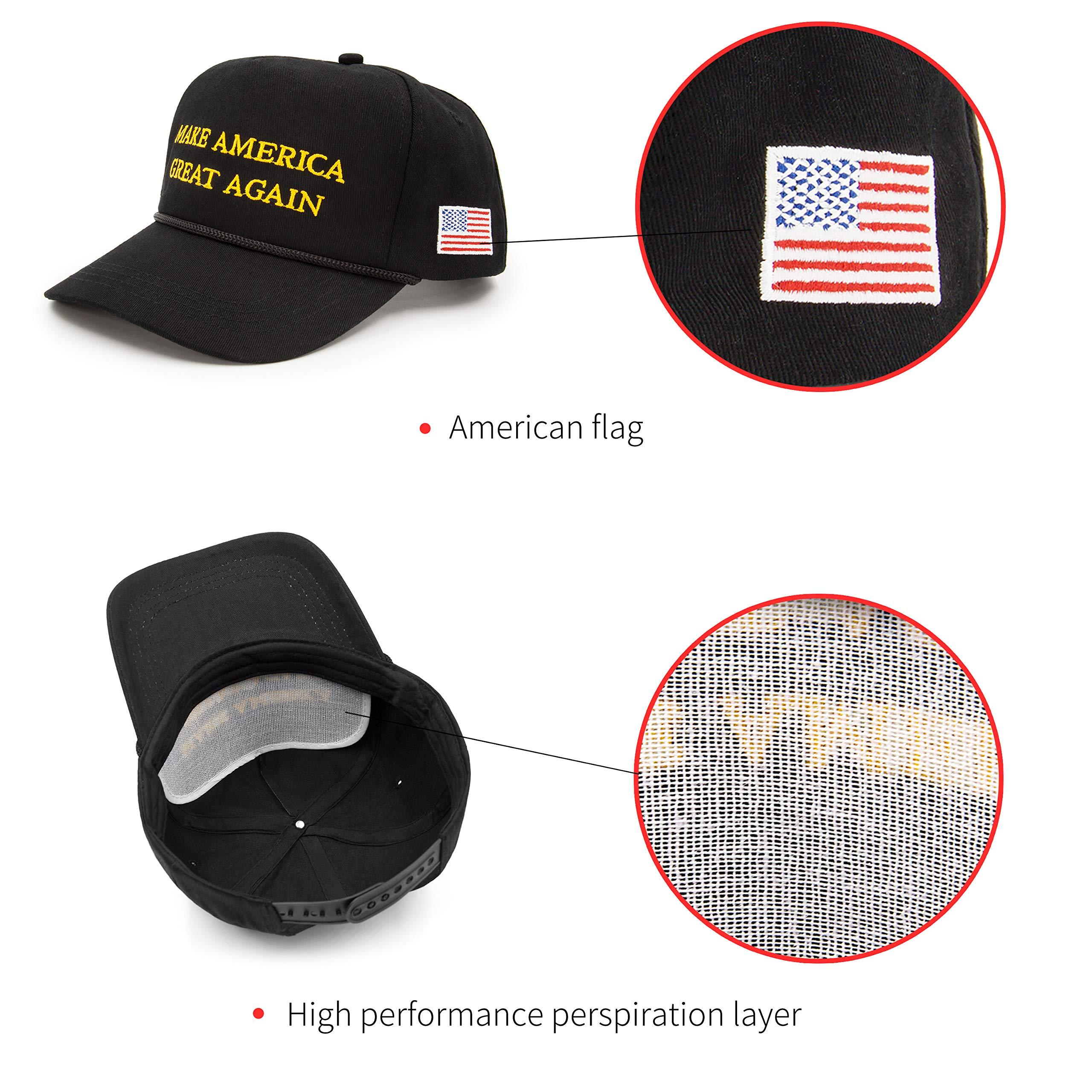 Milisente Make America Great Again Hat USA Flag Cotton Ajustable Baseball Cap (Black)