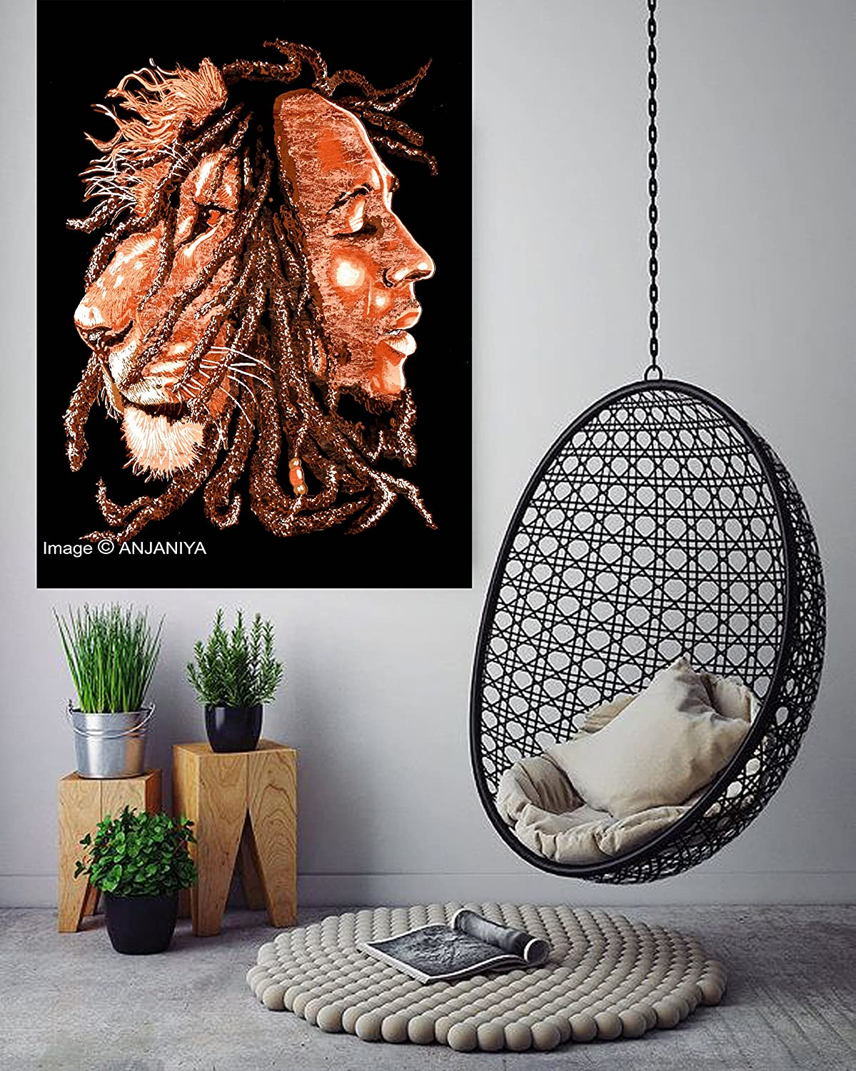 "ANJANIYA Bob Marley Lion Face Beautiful Bohemian Room Dorm Decor Hippie Small Boho Rasta Tapestry Poster 30""x40"" Psychedelic Reggae Tapestries Wall Art Hanging Gypsy Posters (Brown, 30""X40"")"