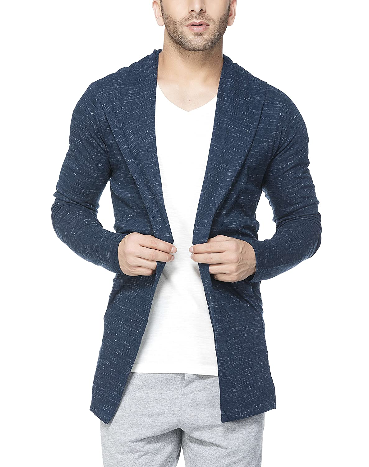 Tinted Men's Cotton Blend Hooded Cardigan TJ5407
