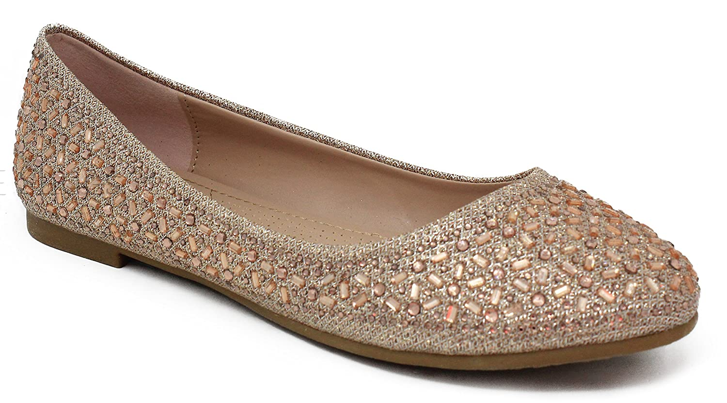 MVE Shoes Women's Crystal Rhinestone Slip On- Formal Glitter Flats B07B1FMDQV 7 B(M) US|Champane*j