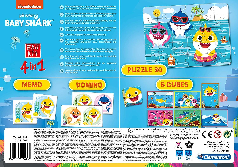 - Made in Italy-Memory-Spiel Edukit 4 in 1-Baby Shark Memo, Domino, Puzzle, W/ürfel Logik 18099 3 Jahre Clementoni
