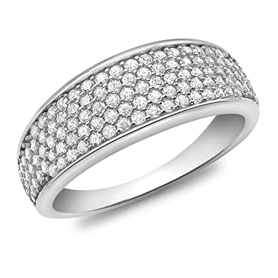 Carissima Gold Cubic Zirconia Pave Set Tapered Ring imZI128