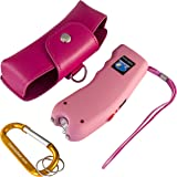 """Stun Gun w/Flashlight, Panic Alarm, Rechargeable Internal Battery, Safety Pin, Wrist Strap, Carabiner & Clip-on Carry Case. Includes Quick Set-up and """"How To"""" Guides."""