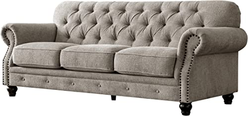 Acanva Collection Chesterfield Chenille Tufted Living Room Sofa