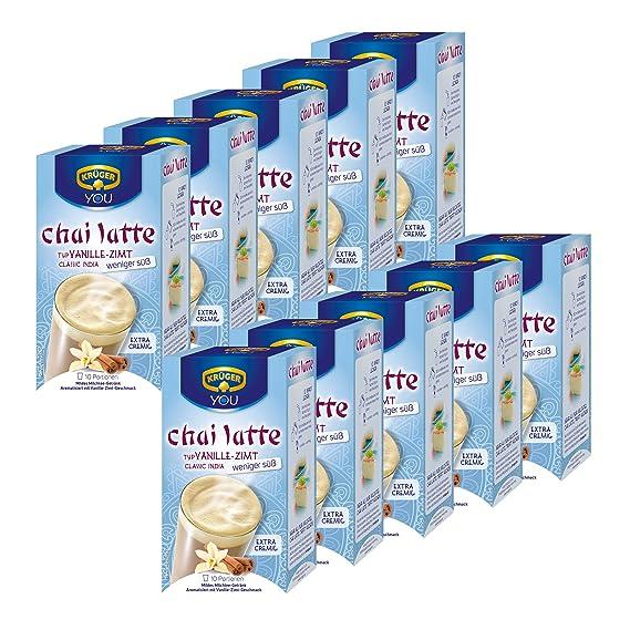 Krüger Chai Latte Classic India menos dulce, vainilla-canela, té de la leche