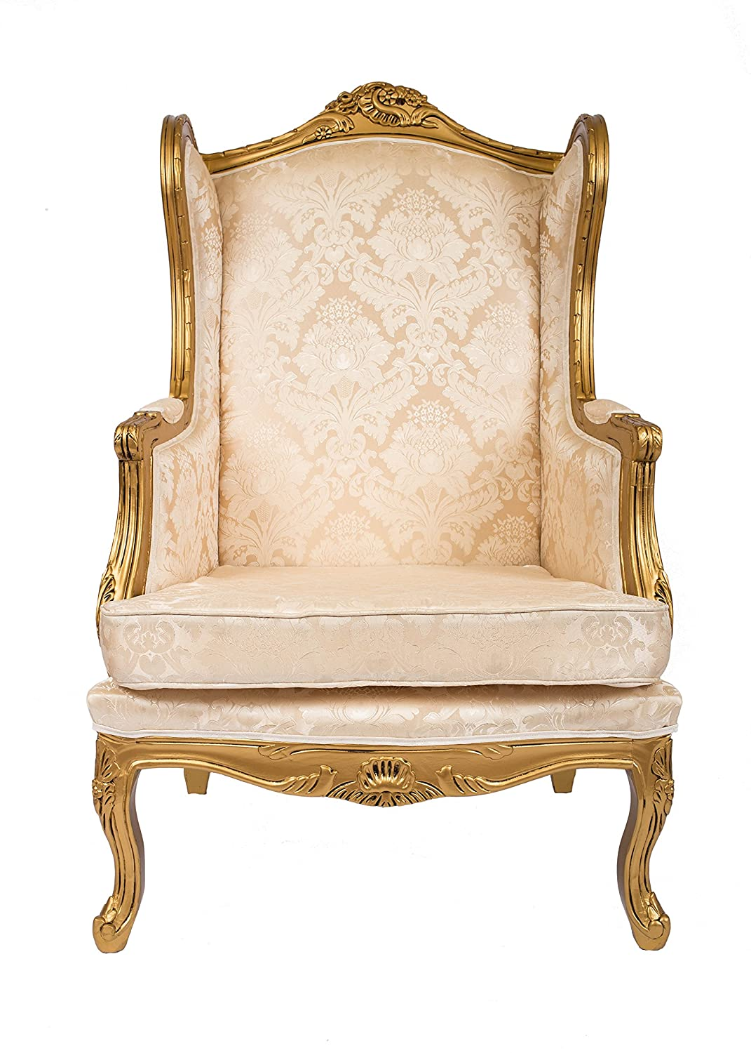 Queen Ann Wingback Sessel Antik Stil Shabby Chic Gold Damast