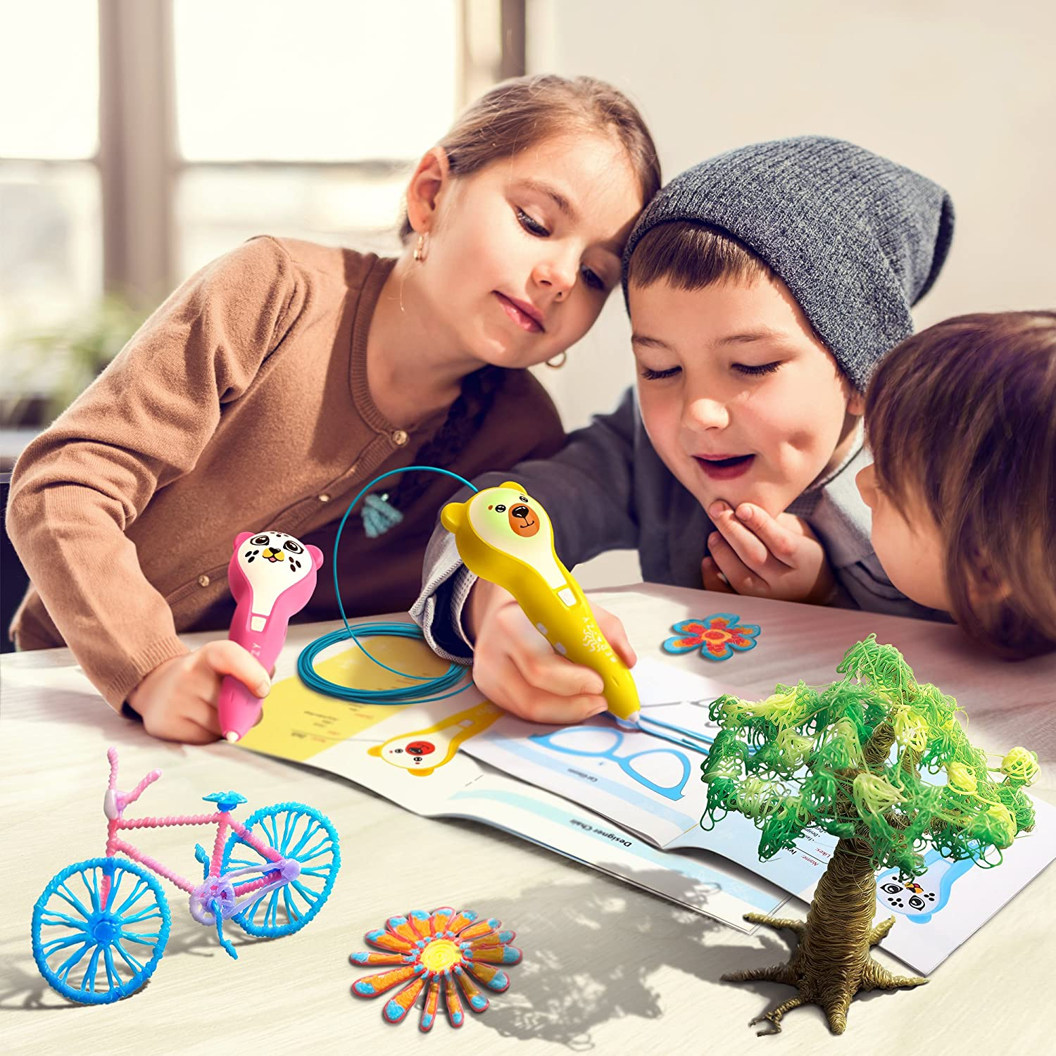 MeDoozy 3D Pen Set Fun Creative Children Present Yellow Best Art Supplies for Kids Teens Cool Arts and Crafts for Girls Boys Top Hobby 3D Drawing kit Ideal Girl Gifts for Birthday Party