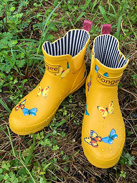 e69be11de684b Rongee Women Short Ankle Rubber Rain Boots Yellow Chelsea Booties Ladies  Butterfly Printed with Elastic Gore and Oxford Bag Packed