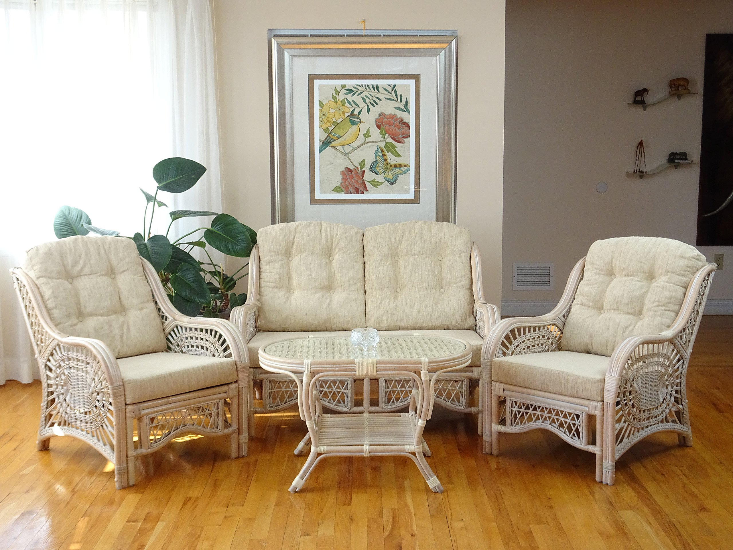 Malibu Lounge Set of 2 Natural ECO Rattan Wicker Chairs, Loveseat with Cream Cushion and Coffee Table w/Glass Handmade, Cream