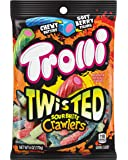 Trolli Twisted Sour Brite Crawlers Gummy Candy, Strawberry, green apple and blue raspberry, 6 Ounce (Pack of 8)