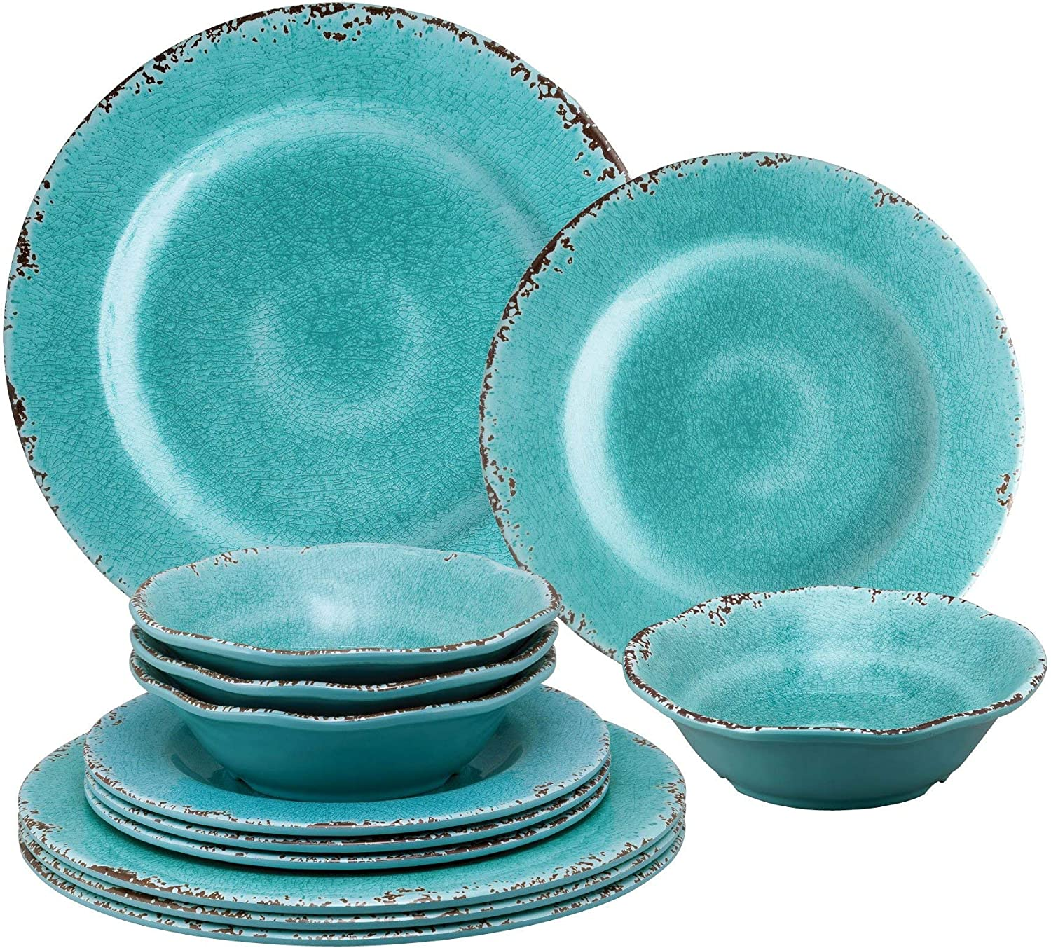 Gourmet Art 12-Piece Crackle Heavyweight and Durable Melamine Dinnerware Set, Turquoise, Service for 4. Includes Dinner Plates, Salad Plates and Bowls. for Indoors Outdoors Use and Everyday Use