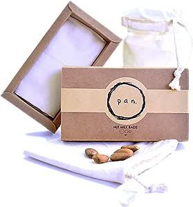 3pk 100% Organic Cotton, Reusable, Durable, Natural, High Grade Mesh Nut Milk Bag, Nylon Free, Strainer Cheesecloth & Coffee Filter for Silk Almond Cashew Peanut Milk (1, Various Sizes)