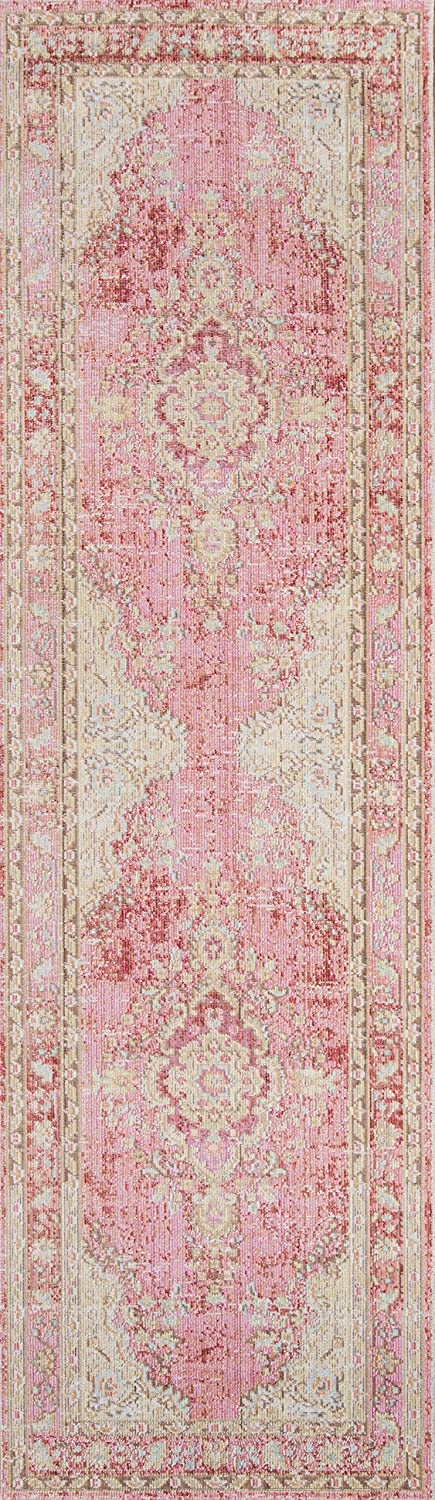 """Momeni Rugs Isabella Traditional Medallion Flat Weave Area Rug, 2'7"""" X 8' Runner, Pink"""