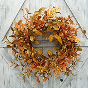 AMF0RESJ Artificial Fall Wreath for Front Door Autumn Wreath with Bright Oak Leaves,Small Pumpkin,Berry Branches,Mixed Leaves for Farmhouse Indoor Outdoor Window Wall Door Decor