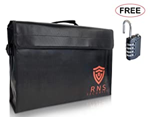 Extra Large Fireproof Document Bag Double Layer Non Itchy Locking Zipper Free Lock 17.5x12x5 Fire Explosion Proof Heat Retardant Water Resistant Security Money Pouch Portable Safe Cash Box Lipo Bags