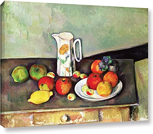 ArtWall Still Life with Milk Jug and Fruit Gallery-Wrapped Canvas Artwork by Paul Cezanne, 14 by 18-Inch