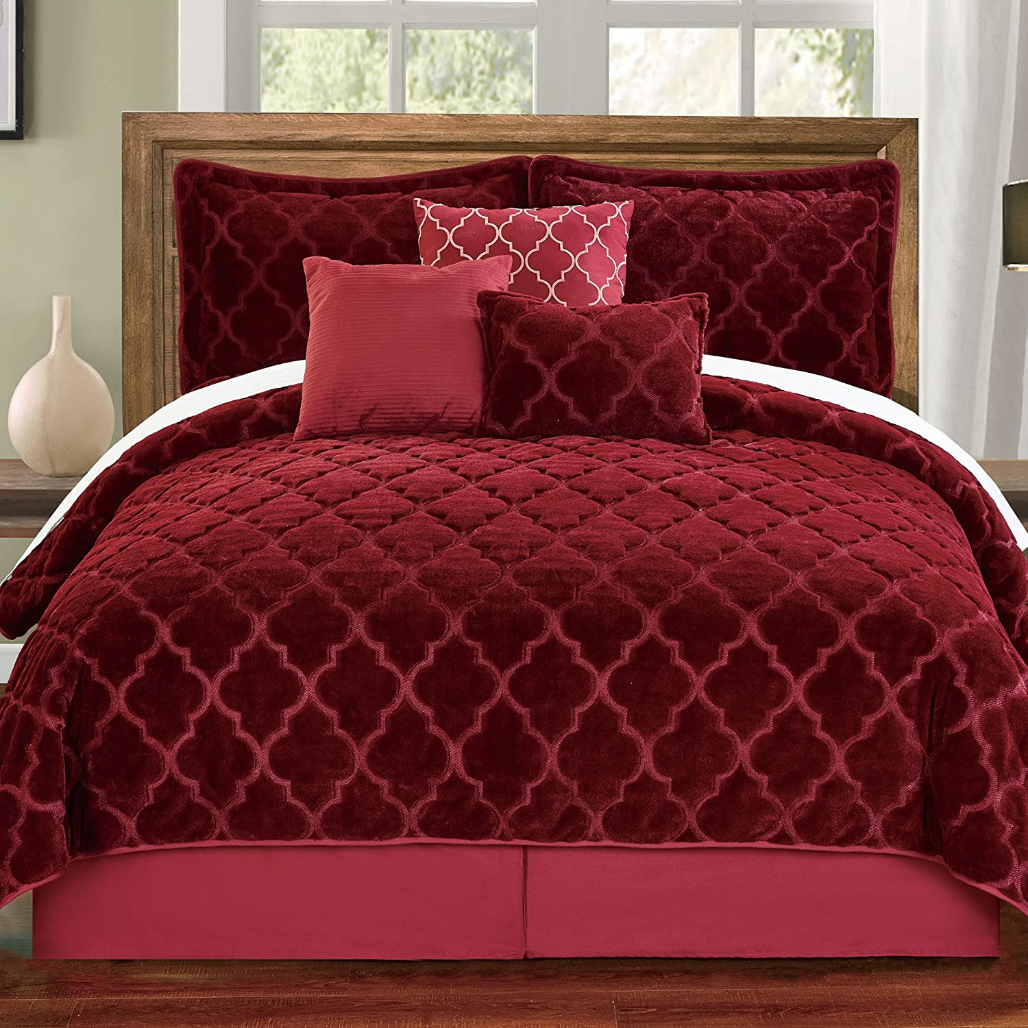 Serenta Faux Fur Ogee Embroidery 7 Piece Bedspread Quilts Set, Queen, Burgundy