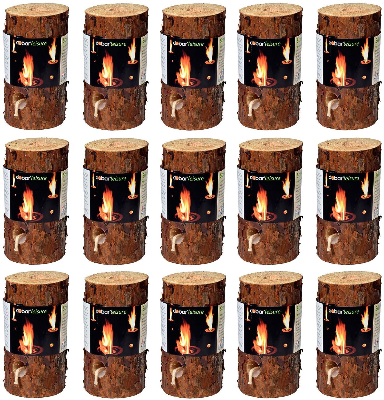 dobar 35133 caminetti accessori Combustibili Legno atmosferica Svezia fuoco, Baumfackel, 15 pezzi, diametro 11-15cm, alto 20 centimetri, marrone