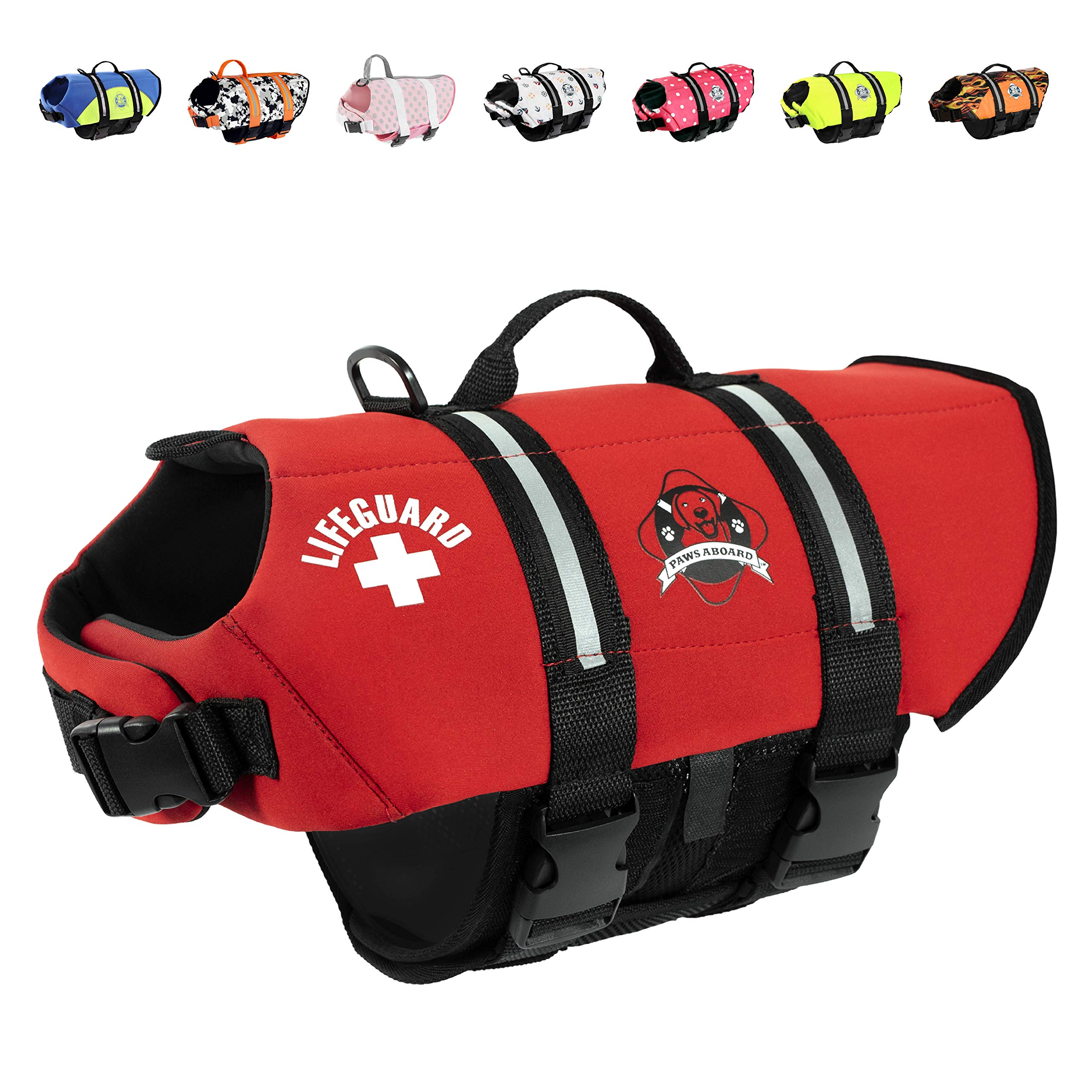 Paws Aboard Extra Large Neoprene Designer Doggy Red Life Guard/Jacket Upto Over 90 Lbs