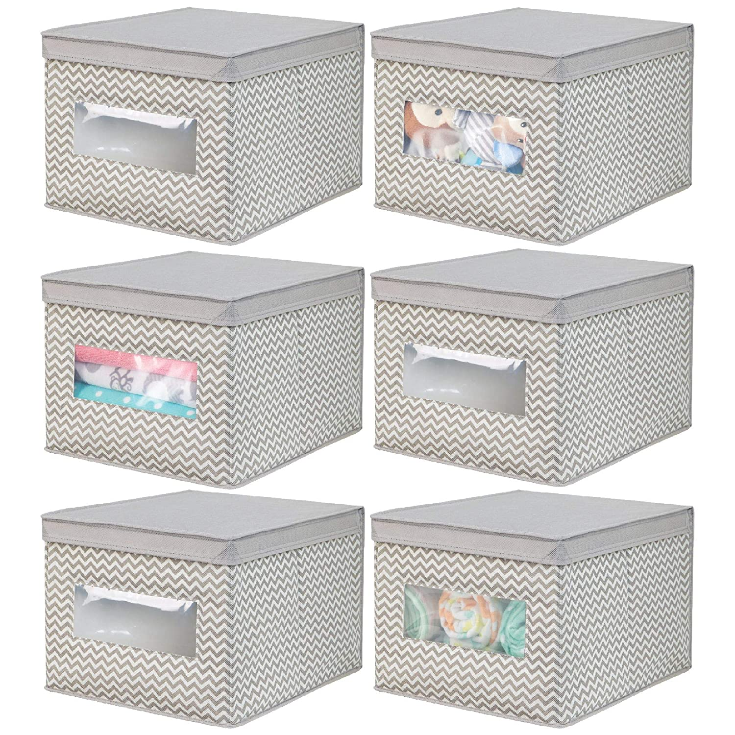 mDesign Decorative Soft Stackable Fabric Closet Storage Organizer Holder Box - Clear Window, Lid, for Child/Kids Room, Nursery - Large, Collapsible Foldable - Textured Print, 6 Pack - Gray MetroDecor 01858MDB