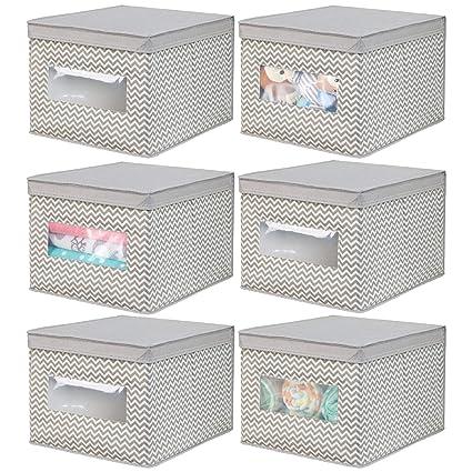 mDesign Juego de 6 cajas de tela para cambiador – Cajas con tapa de fibra sintética