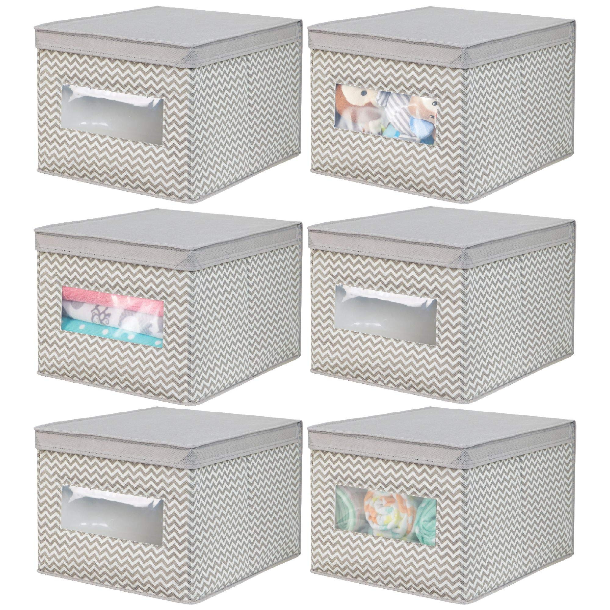 mDesign Soft Stackable Fabric Closet Storage Organizer Holder Box - Clear Window, Attached Hinged Lid, for Child/Kid Room, Nursery - Fun Zig Zag Chevron Pattern - Large, Pack of 6, Taupe/Natural