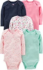 Simple Joys por de Carter Baby Girls Paquete de 5 Body de Manga Larga