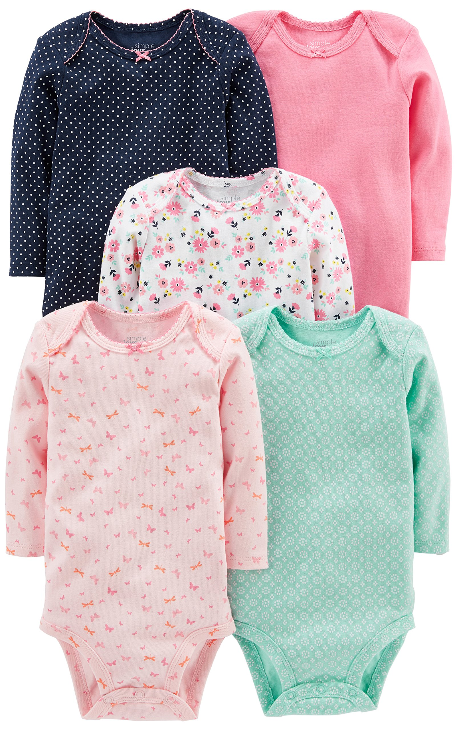 Simple Joys by Carter's Baby Girls' 5-Pack Long-Sleeve Bodysuit, Pink/Navy/Mint, 18 Months