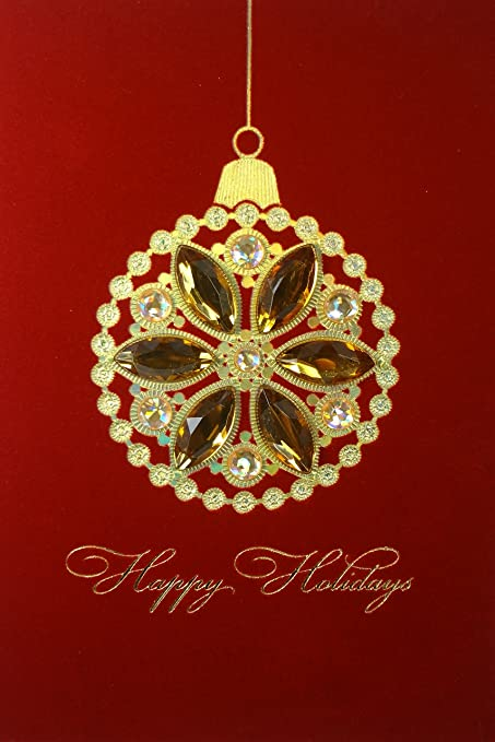 papyrus christmas holiday boxed set of 8 greeting cards with ornate handmade ornament design