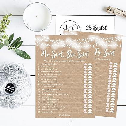 25 rustic wedding bridal shower engagement bachelorette anniversary party game ideas he said she said