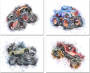 Monster Truck Wall Art Boys Room Decor - Watercolor Poster Decor For Boys Bedroom, Extreme Sports Decor Wall Art, Boy Room Decor - Posters For Boys Room - Boys Bedroom Monster Truck Decor Posters - Set of 4 (8 x 10) Unframed