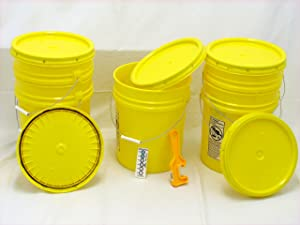 Bucket Kit, Five 90 mil Yellow Food Grade 5 Gallon Buckets with Yellow Snap-on Lids and one Lid Wrench