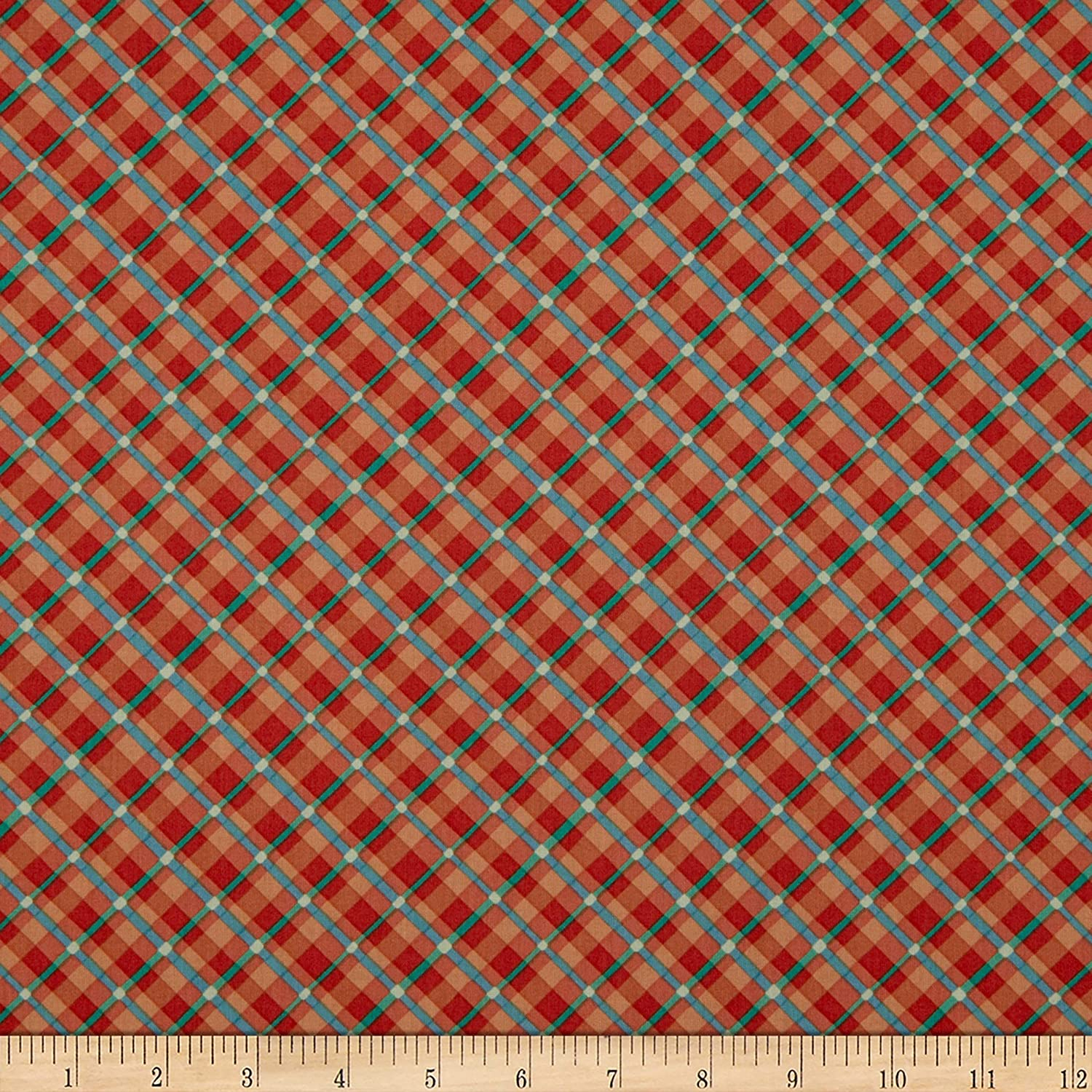 Clothworks Garden Notes Plaid, Orange, 0681484